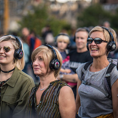 Starting the silent disco tour in Edinburgh