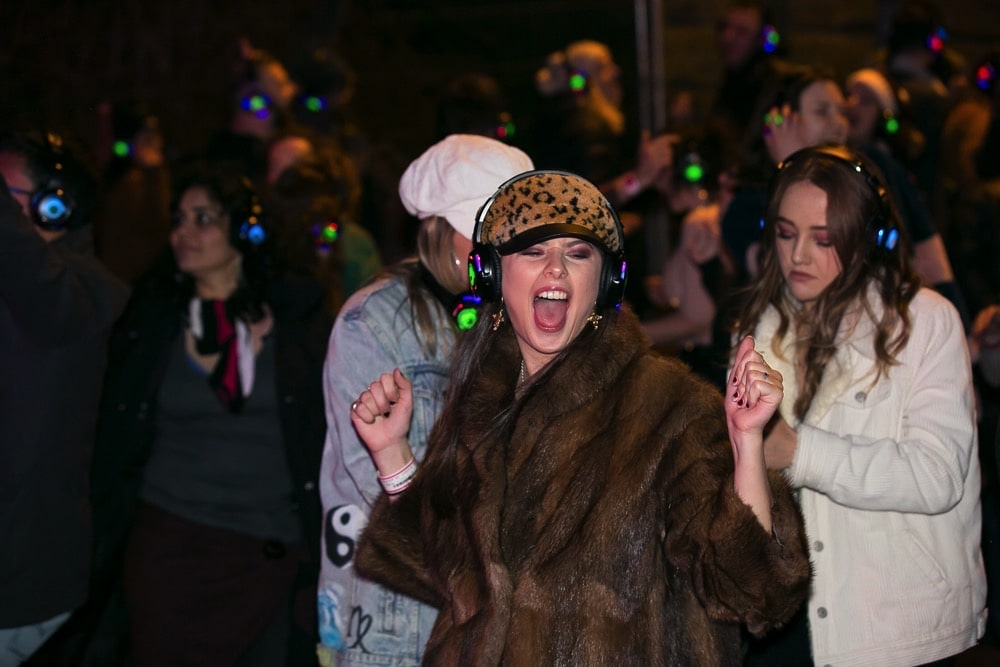 Silent Disco street party fun times in Edinburgh
