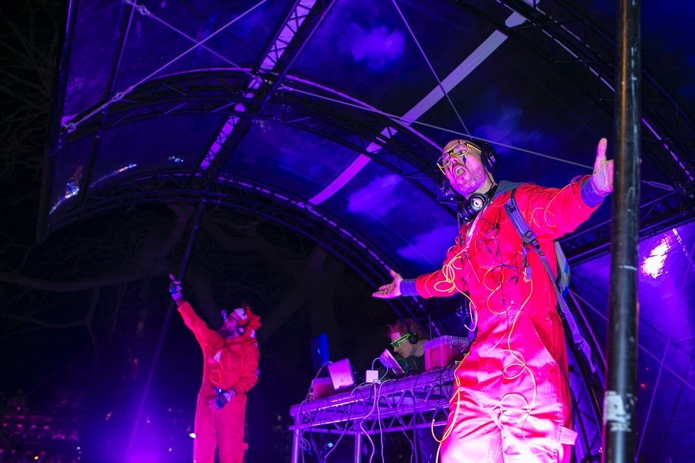 Silent Disco street party DJs on stage in Edinburgh