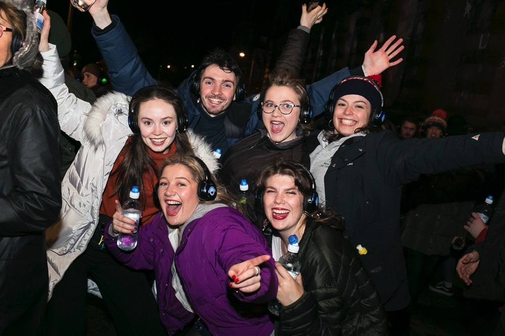 Silent Disco street party revellers in Edinburgh