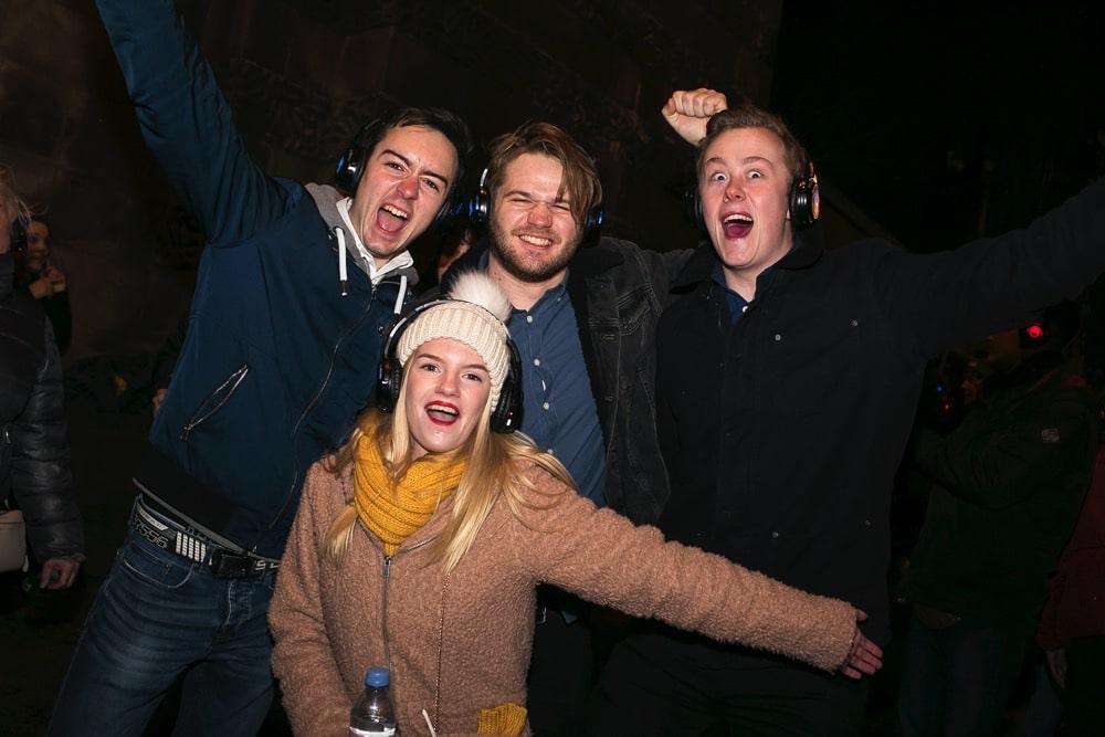 Silent Disco street party revellers in Edinburgh