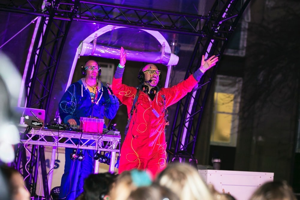 Silent Disco street party hosts on stage in Edinburgh
