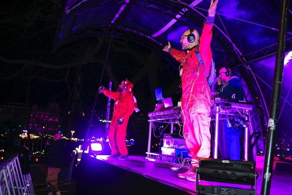 Silent Disco street party on stage in Edinburgh